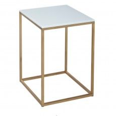 GillmoreSPACE Kensal White & Brass Square Side Table | 714-227
