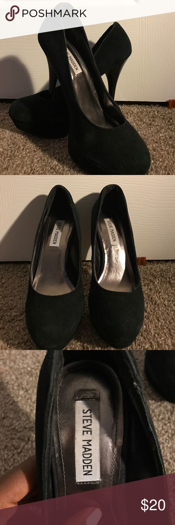 Steve Madden black pumps Steve Madden suede black pumps, very comfortable, pre-loved, signs of wear but good condition. Perfect to dress up or dress down. Easy to walk in & already broken in!!!!! I hate to part with these, but I never get to wear them & it's time to let go 😿. Steve Madden Shoes Heels