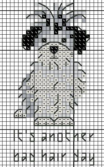 free cross stitch chart bad hair day dog