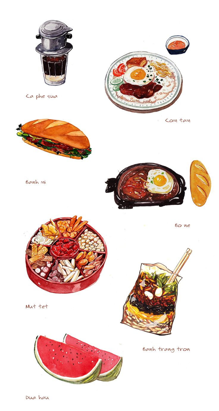 illustrations of 10 best dishes in Saigon