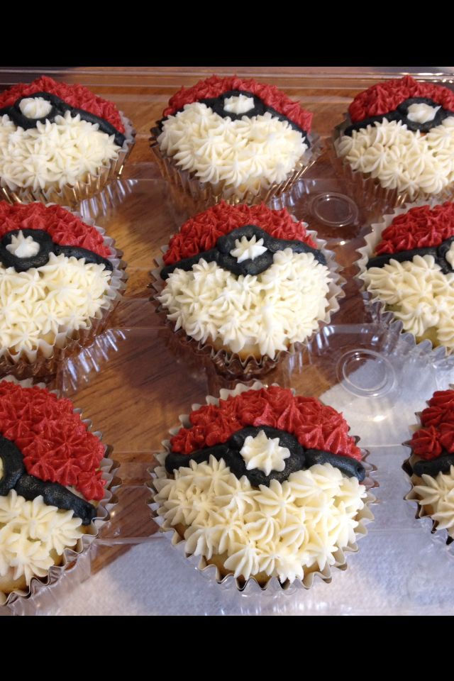 Pokeball cupcakes, confetti cake, vanilla mousse filling & buttercream frosting