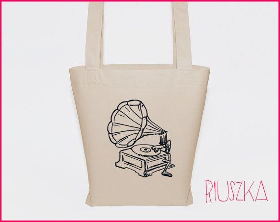 Music bag retro bag gramophon tote bag vintage bag by RIUSZKA