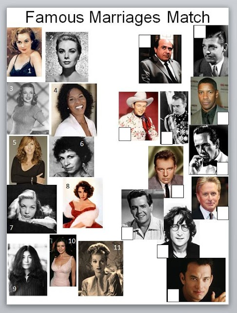 famous marriages match shower game