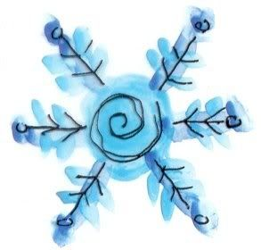 snowflake elementary art | watercolour and yarn snowflake | Elementary Art Projects