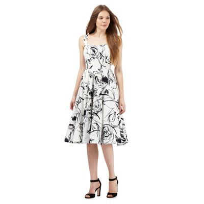 The Collection White Sketch Rose Print Prom Dress