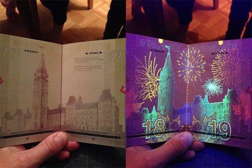 カナダの新しいパスポートを紹介している。ブラックライトを当てると花火が見えるなど、偽造防止の仕掛けがされている。見た人は「カナダ人でよかった」「カナディアアアアアアアアンwww 」と反応