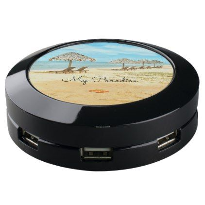 Tropical Beach Scene Blue water USB Charging Station - blue gifts style giftidea diy cyo