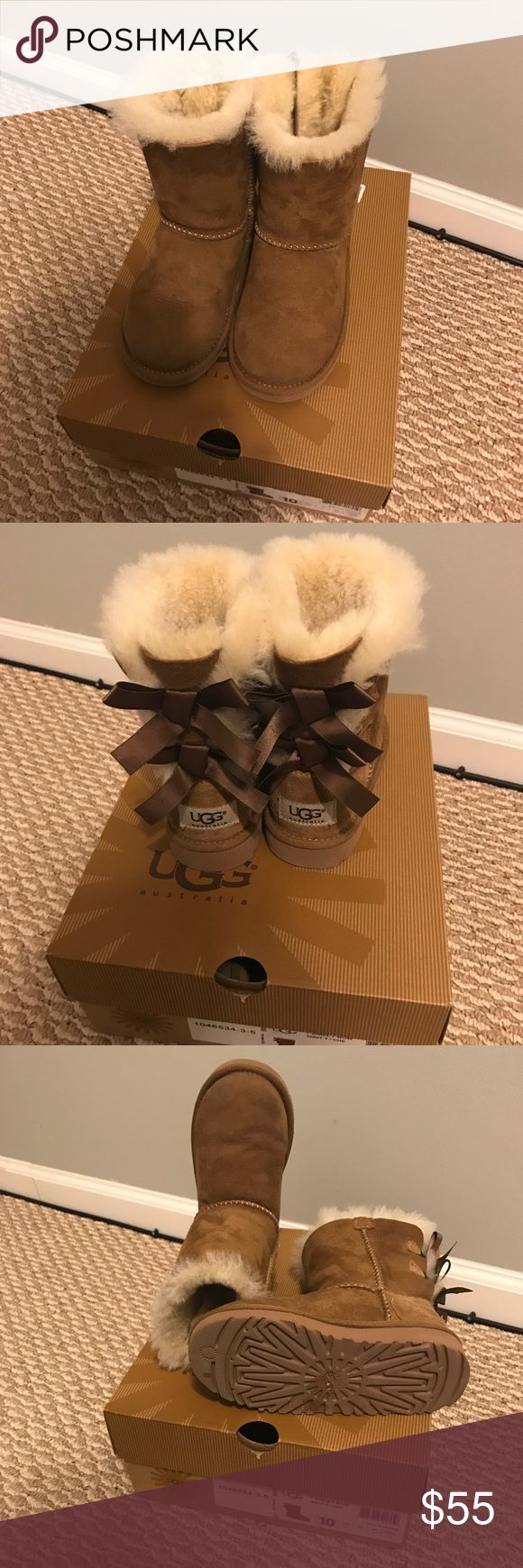 Girls Ugg Bailey Bow Boots 10 Toddler Still in box. Great condition. Minimal signs of wear. NO offers will be accepted. Retail $120. Sizing is your responsibility. NOT MINE UGG Shoes Boots