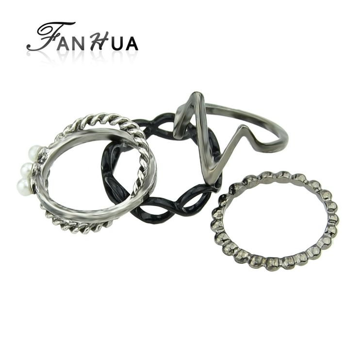 FANHUA 4pcs/set Antique SilverColor Simulated Pearl Ring Sets For Women Weekend Deals Perolas Rings