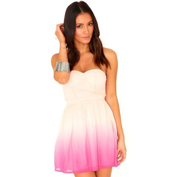 Missguided Audrey Bustier Ombre Skater Dress (£30) ❤ liked on Polyvore featuring dresses, vestidos, pink, going out dresses, pink cocktail dress, pink bustier, night out dresses and chiffon party dresses