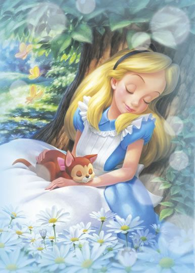 *ALICE & DINAH ~ Alice in Wonderland, 1951....Alice dreamy dreaming