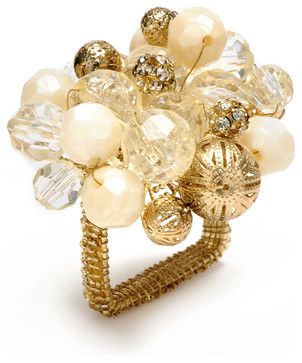 Gold Crystal Bauble Napkin Ring transitional napkin rings