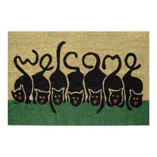 cat tail welcome vinyl back outdoor doormat by american mats protective vinyl backing