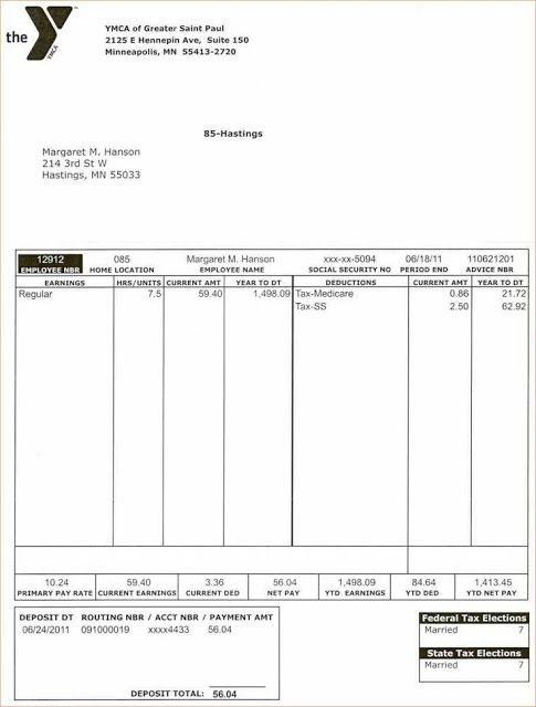 Free Printable Word Pay Stub Template  Free Paystub Templates