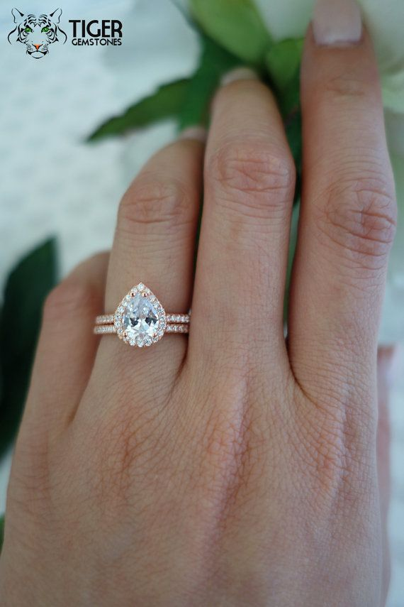 1.5 ctw Classic Halo Engagement Ring, Pear Ring, Wedding Band, Bridal Ring, Man Made Diamond Simulants, Half Eternity Ring, Sterling Silver