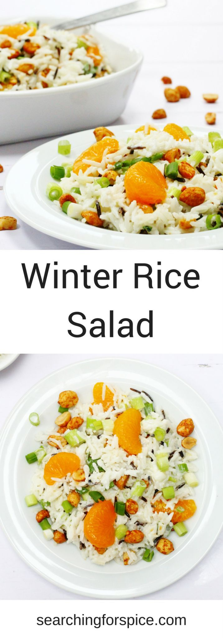 Winter rice salad with dry roasted peanuts, mandarins and spring onions  #salad #ricesalad #recipe #mandarinoranges s #sidedish #vegetarian