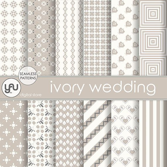 "Wedding digital paper: ""IVORY WEDDING"" with ivory wedding digital seamless patterns, ivory invitation, wedding scrapbook paper for cards #Craft #Supplies #Scrapbooking  #Paper #wedding #digital #scrapbook #ivory #seamless #pattern #invitation #geometric #background"
