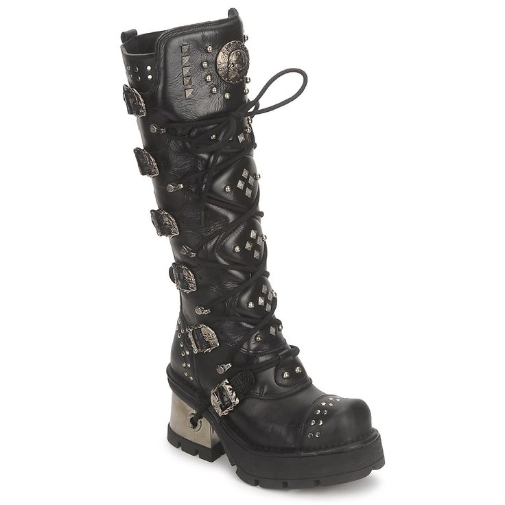 Kickass or kick some ass in these badass boots...  High boots New Rock METALLIC 6 Black - Free next day delivery with Spartoo.co.uk ! - Shoes £ 189.58