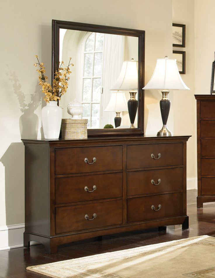 Dresser CS202393 > Description : Tuck yourself into the Tatiana headboard. A grandly-scaled headboard with decorative paneling serves as the centerpiece of the collection emphasizing strong horizontal lines and geometric balance. Pair with the matching night stand, dresser, mirror and chest for the complete look. Features : Finish & Paint Options : Warm Brown Finish Style : Transitional   Drawer Construction : French ,English Front/Back Dt Case Detail : Beveled Edges and Square Legs Felt…