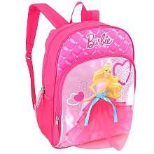 Barbie 16 inch Backpack - Pink by Mattel. $25.99. Beautiful Barbie, dressed in a mesh skirt, decorates the front of this 16-inch Backpack. This cool school bag has lots of room for storage, and a locker loop lets you hang it up when not in use. The Barbie 16 inch Backpack - Pink features: Includes one backpack Main and front compartments close with zippers; slip-in mesh pockets offer additional storage Plenty of room for all of your necessary school supplies Made from durable fa...