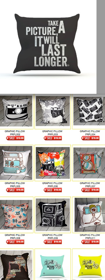 Camera Pillows make great gifts at only $19.00 each http://www.backdropoutlet.com/PHOTO-FUN/products/1534/3/0