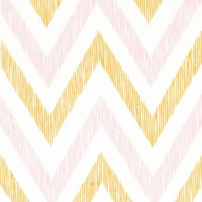 Fabric Chevron Gold Pink White Nursery