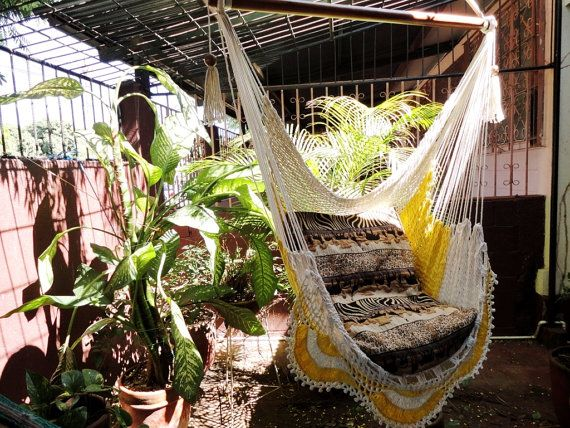 Beige and yellow Sitting Hammock with Fringe Hanging by hamanica