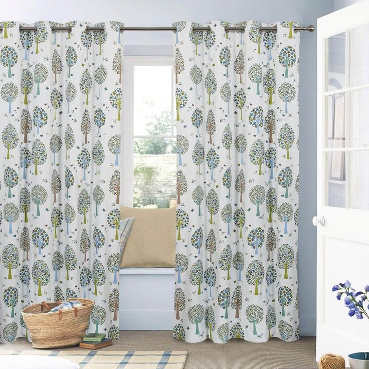Tree Printed Boys Girls Children's Kids Window Curtain Blockout Ring Top White #Unbranded