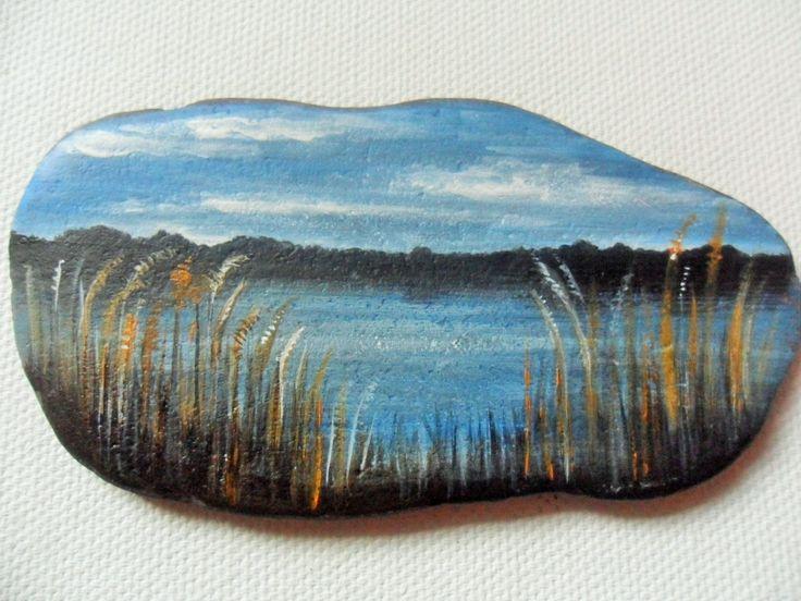 Stanwick Lakes Northamptonshire - Acrylic miniature painting on English beach slate by ShePaintsSeaglass on Etsy