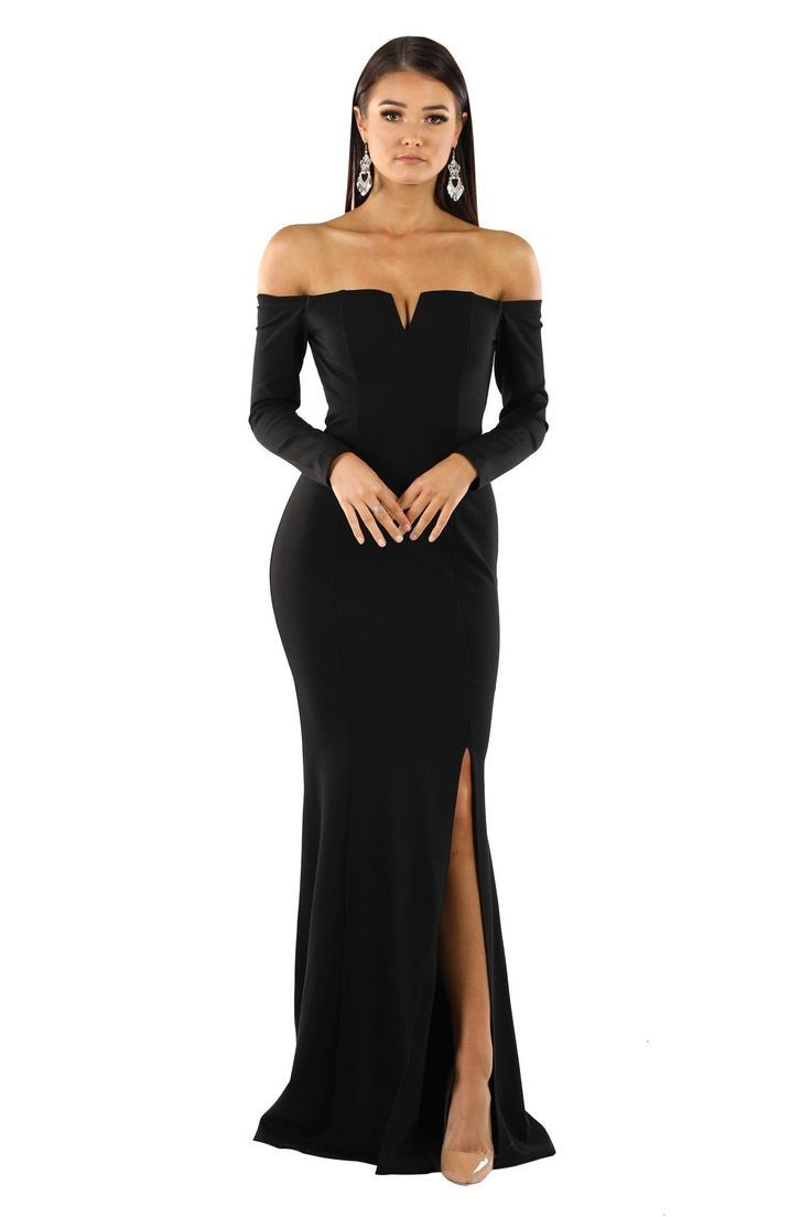 Gabriela Long Sleeve Gown – Black  Langarm kleid, Abendkleider