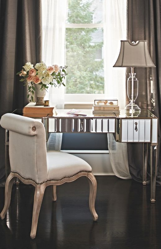 Beaming With Extraordinary Glamour And Adorned With Opulent Details, The  Sloane Mirrored Desk Is A