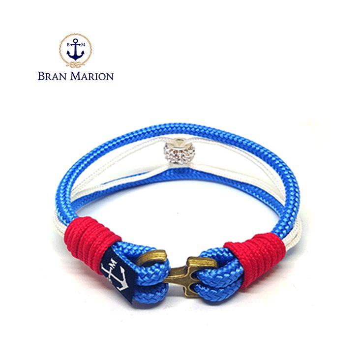 Bran Marion Blue and Bronze Anchor Men's Nautical Bracelet