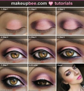Roze en paarse oogschaduw