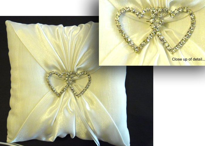 Ring Bearer Pillow with Diamante Hearts