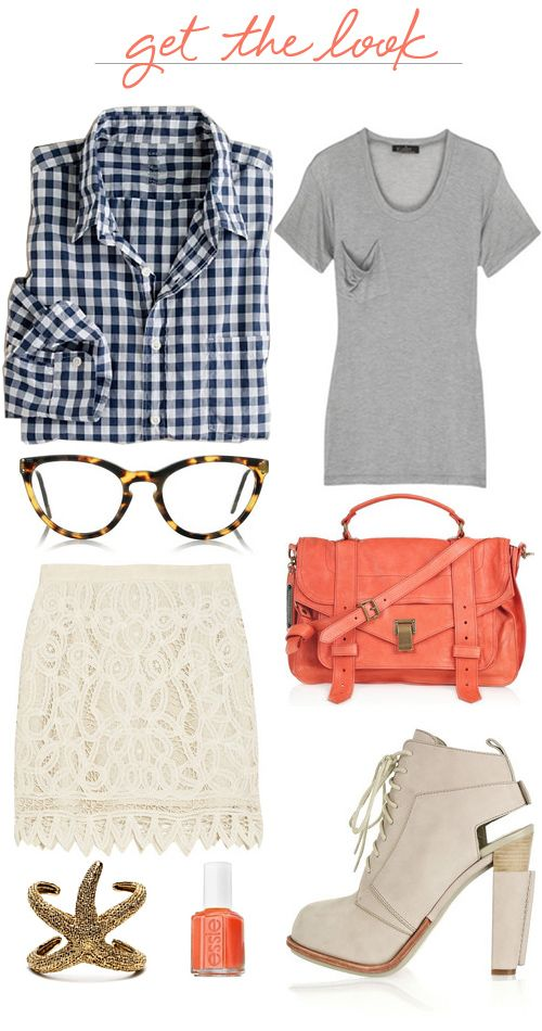 : Gingham Shirts, Fashion Ideas, Girls Skirts, Beautiful Skirts, Fashion Combos, Fake Glasses, I D, Bags, Lace Skirts