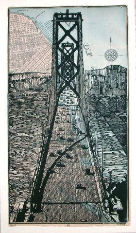Bay Bridge on map Linocut Eric Rewitzer