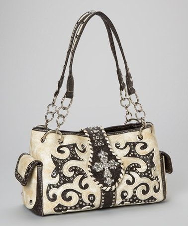 This Bone & Black Rhinestone Cross Shoulder Bag is perfect! #zulilyfinds