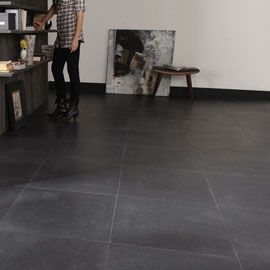 Carrelage sol noir granit 60 x 60 cm castorama for Peinture charme castorama
