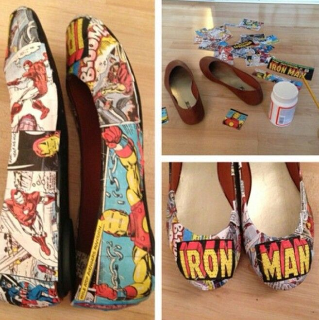 DIY comic book shoes using modge podge