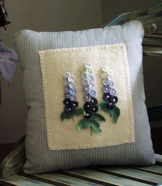 Primitive Wool Delphinium Flower Pillow