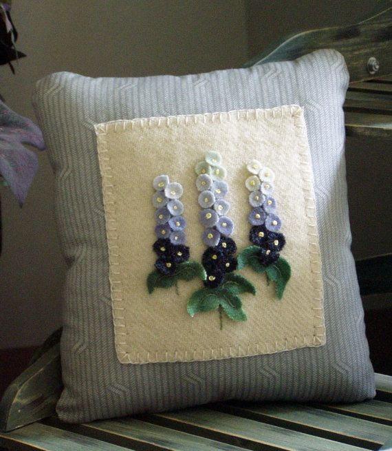 Primitive Wool Delphinium Flower Pillow or by happyvalleyprimitive, $24.95