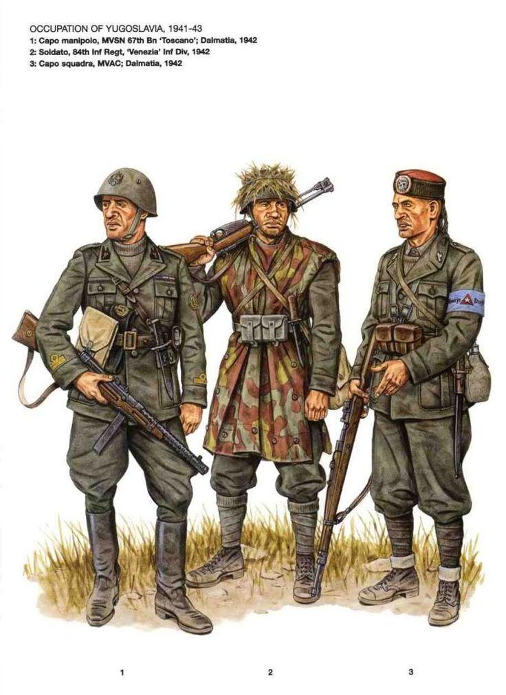 """Occupazione Italiana in Yugoslavia - 1 Capo Manipolo MVSN 5o Bn """"Toscano"""", Dalmazia 1942 - 2 Soldato 84o rgmt, Divisione fanteria """" Venezia"""", 1942 - 3 Caposquadra, MVAC, Dalmazia, 1942"""