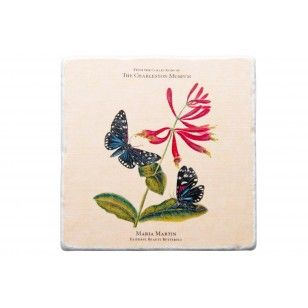 Maria Martin (1796-1863) was the sister-in-law, and later wife, of Reverend John Bachman. She began her artistic career creating botanical paintings for John James Audubon's Birds of America. This coaster features butterfly renderings that were taken directly from two of Maria Martin's practice sketchbooks. These special practice books were donated by the descendants of the Bachman/Audubon family and are now located in The Charleston Museum's Archives.