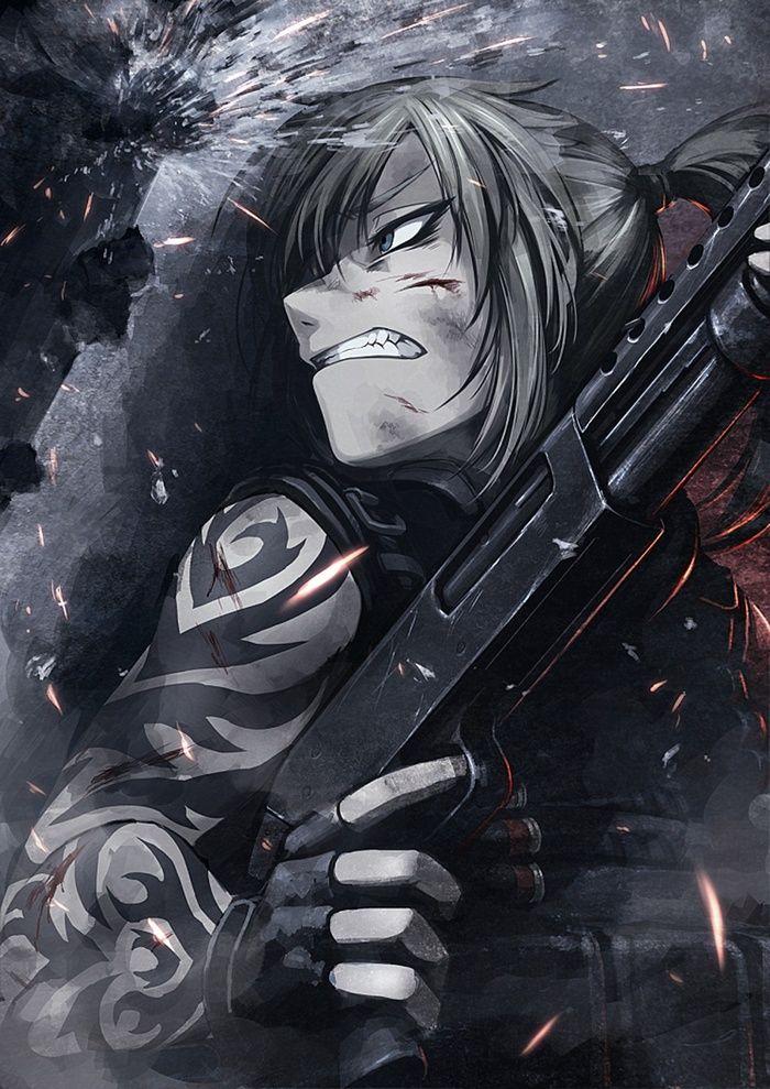 tattoo, weapon, anime girls, Hetza, Hellshock