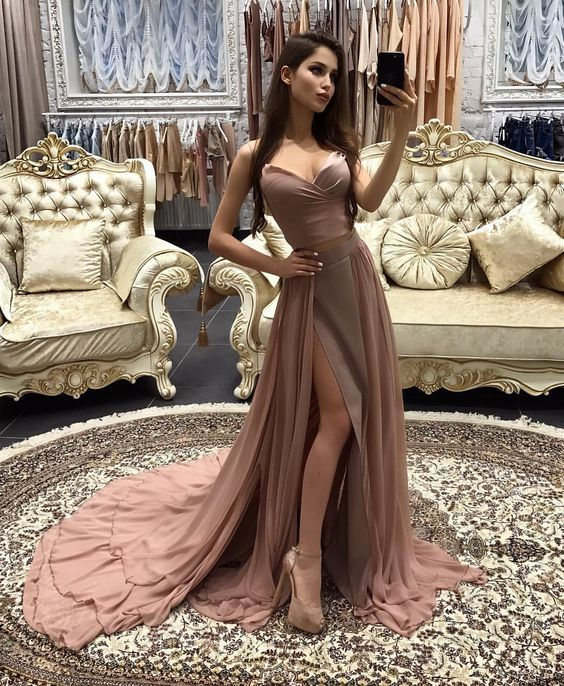 Sexy Two Piece Long Prom Dress,High Slit Formal