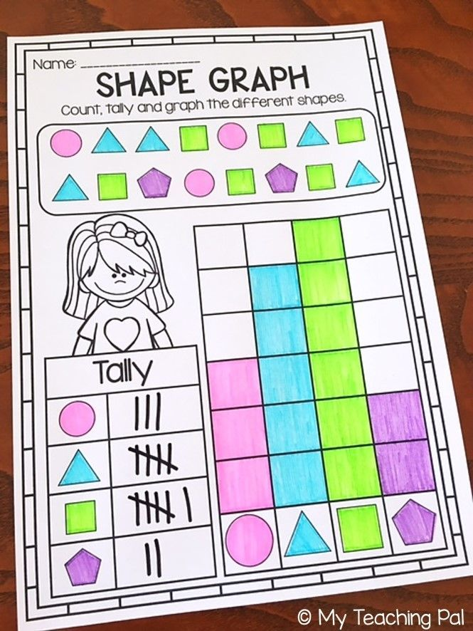 Shape Bar Graphs and Data Collection for First Grade. Printable worksheet pack covering tally marks, tally charts, bar graphs, pie charts and pictographs.