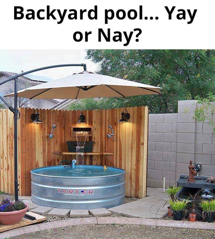 Galvanized water tank pool hot tub for the backyard. DIY jacuzzi hot tub. Backyard decor