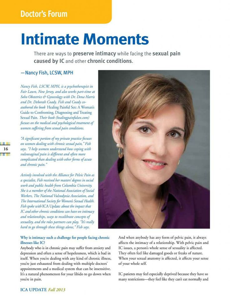 In the fall 2013 issue of the ICA Update, Healing Painful Sex's Nancy Fish discusses ways to preserve intimacy while facing sexual pain. Read this interview for free on Nancy's blog. To learn how you can read the full issue of the ICA Update, go to www.ichelp.org/icaupdate.