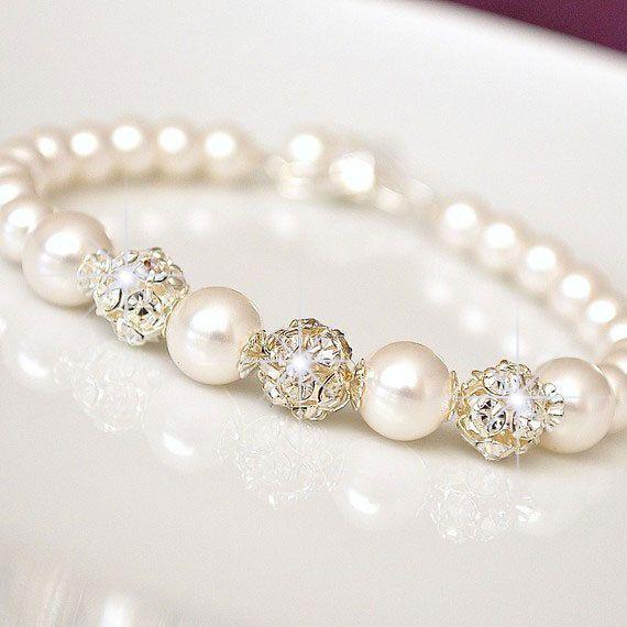 Bridal Bracelet Rhinestone Pearl Wedding by somethingjeweled, $45.00