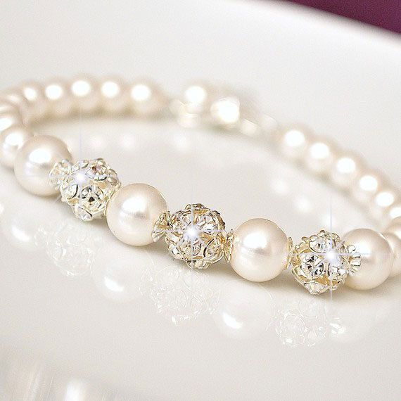 Bridal Bracelet Pearl Bridal Bracelet by somethingjeweled on Etsy, $46.00